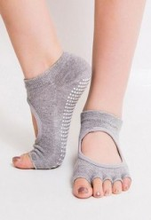 Yoga Pilates Barre Exercise Half Toe Grip Socks GREY